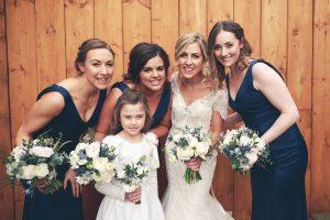 wedding bride and bridesmaids