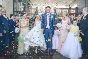 wedding bride and groom confetti