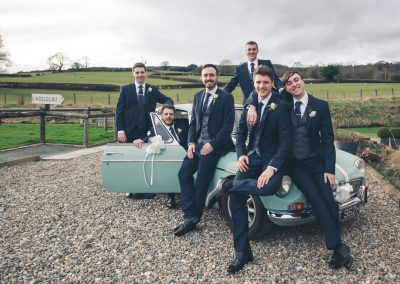 wedding groomsmen car