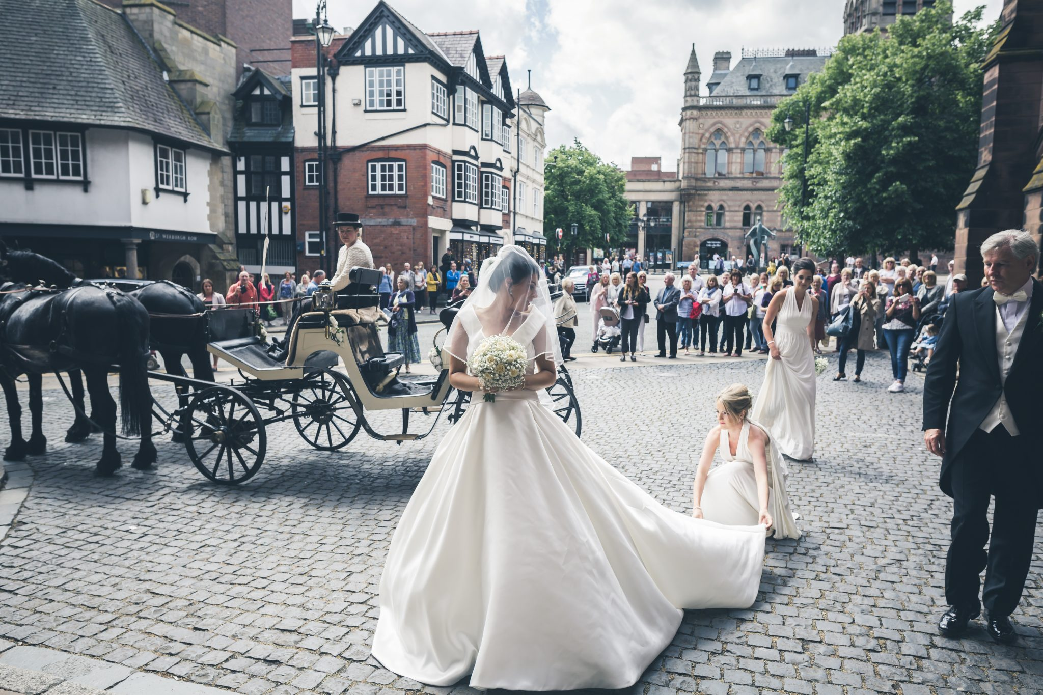 Wedding Bride and Bridesmaidshorse and carriage
