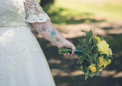 Ness gardens wedding brides flowers and tattoo