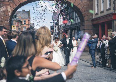 Bride and groom confetti shot Chester