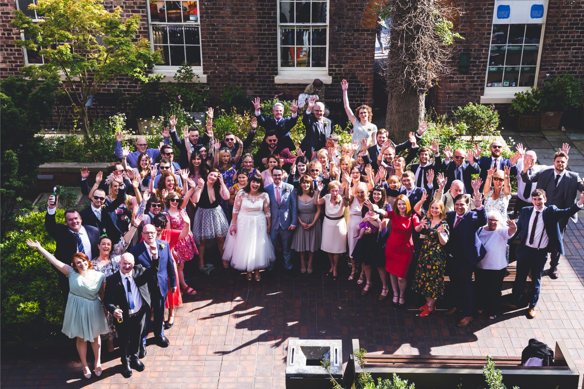 Wedding party in The Courtyard of Bluecoat Liverpool