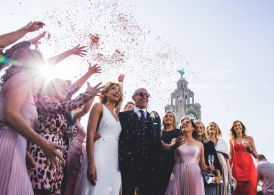 Wedding confetti at Goodness Gracious Roof Garden in Liverpool