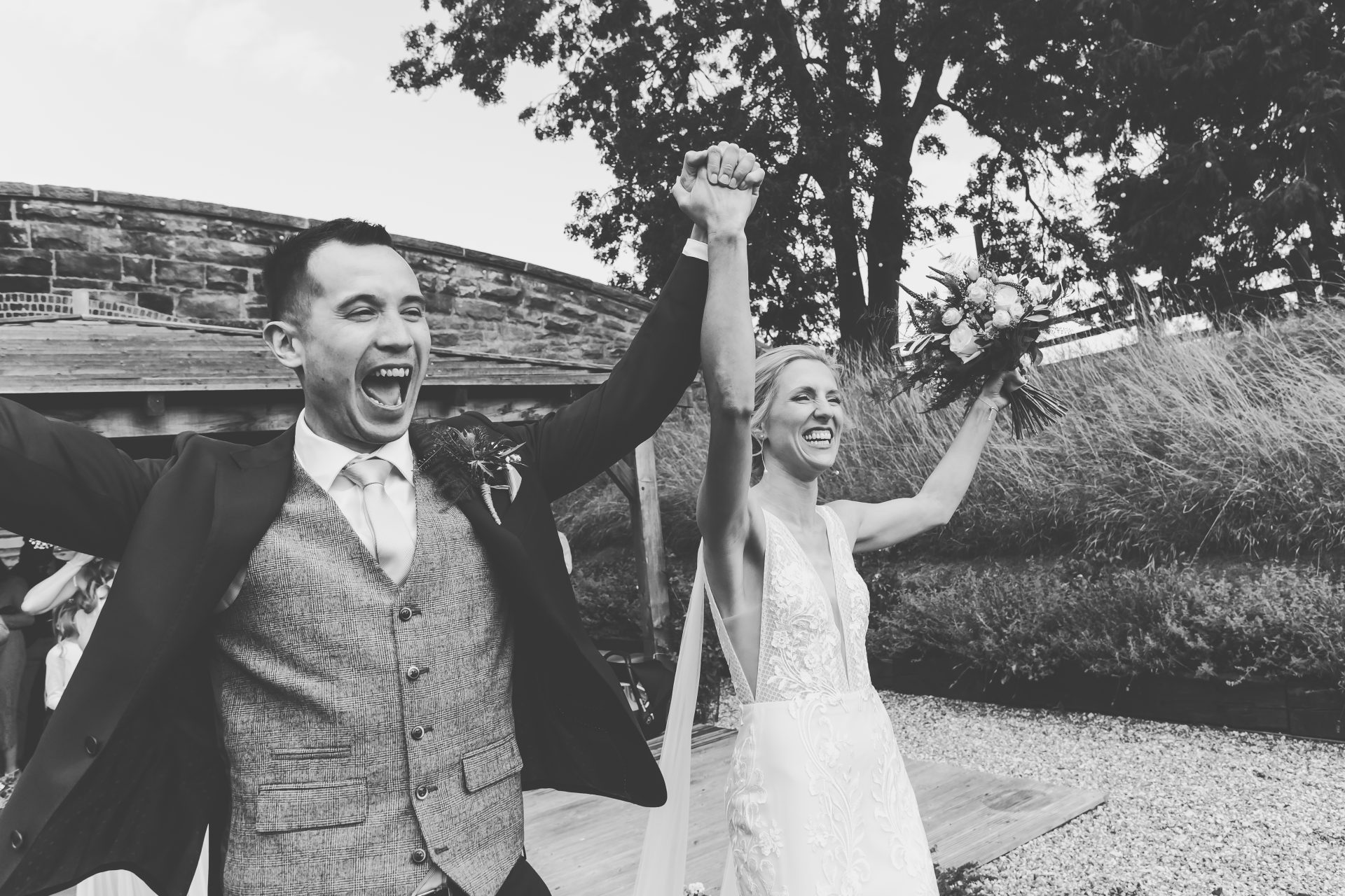 Bride and groom celebrating getting married